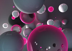 Abstract floating gray and pink spheres