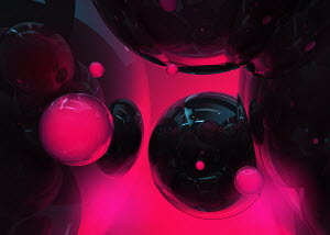Abstract glowing black and pink spheres
