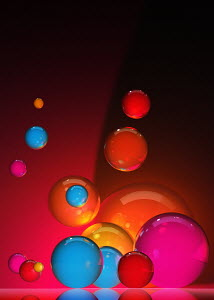 Abstract floating colorful spheres