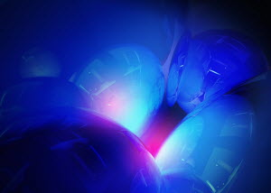 Abstract glowing shiny blue shapes