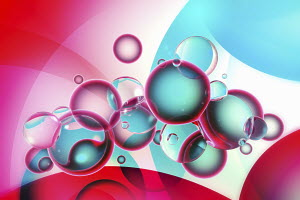 Abstract pink and blue bubbles