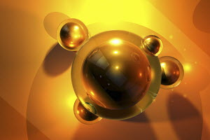 Abstract floating gold spheres
