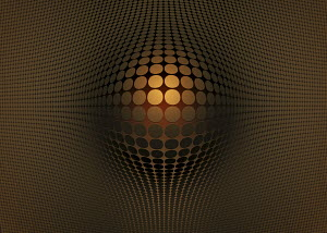 Abstract gold, bulging pattern