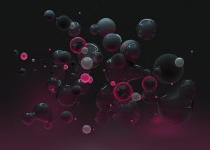 Abstract floating pink and gray spheres