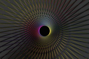 Abstract geometric pattern around black hole