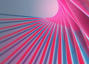 Abstract digitally generated pink and blue lines forming fan shape