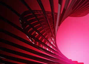 Abstract digitally generated red lines forming fan shape
