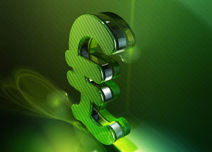 Shiny green 3d British pound sign