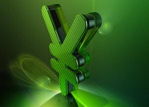 Shiny green 3d yen sign