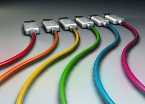 Multicolored usb cables in a row