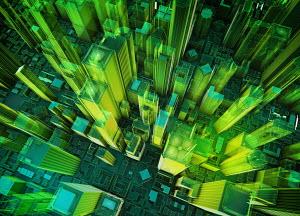 Aerial view of virtual green high-rise skyscraper buildings