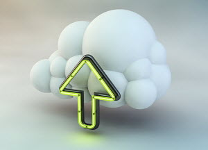 Neon arrow pointing up in cloud