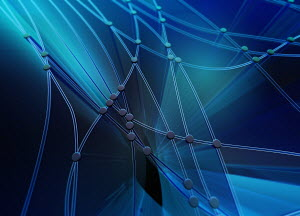 Abstract blue pattern of interconnecting cables and dots