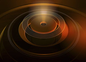 Abstract glowing orange concentric circles