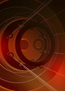 Abstract red structure of circles and cables