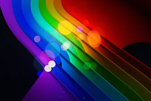 Abstract backgrounds pattern of bright multicolored curved stripes with circles of light