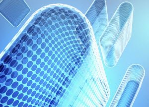 Transparent abstract blue columns of circle grid pattern