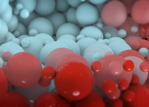 Close up backgrounds pattern of red and blue balls