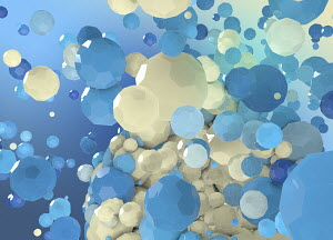 Abstract sphere breaking up into blue and cream polygons
