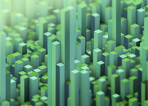 Abstract green three dimensional city topography