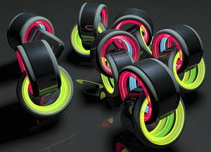 Lots of pairs of interconnected glowing rings
