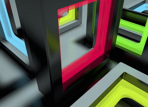 Abstract three dimensional maze pattern of open doorways