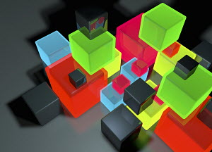 Aerial view of stack of different glowing cubes