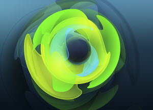 Shiny sphere in center of abstract concentric fluorescent shapes