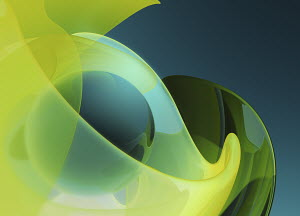 Shiny sphere inside of abstract curved translucent shapes