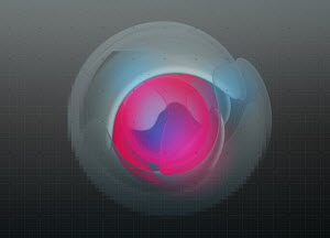 Abstract glowing pink neon shape in the center of blue circle on graph paper background
