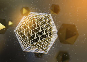 Abstract pattern of gold polyhedra orbiting three dimensional geometric shape