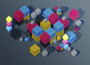 Heap of CMYK cubes in mid air