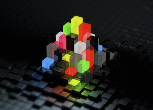 Abstract bright multicolored blocks protruding from uneven surface pattern