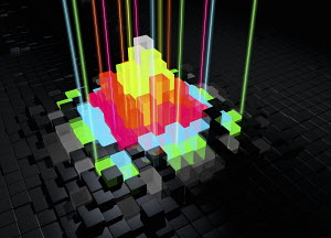 Abstract bright multicolored blocks with laser lights protruding from uneven surface pattern