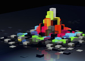 Abstract floating bright multicolored blocks protruding from uneven surface pattern