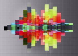 Abstract bright multicolored geometric shapes contrasting with gray grid pattern