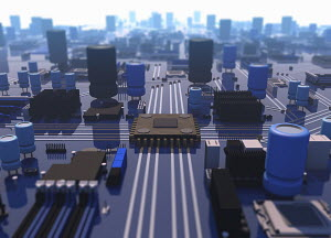 Close up elevated view of computer motherboard