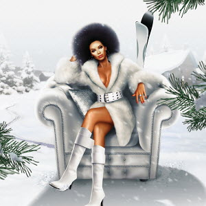 African woman in fur coat sitting in armchair outdoors in snow