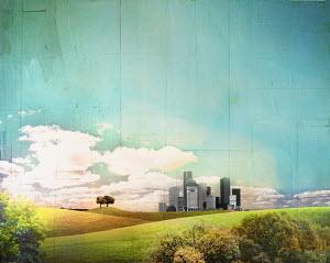 Distant cityscape behind rolling landscape