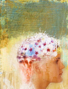Woman with flowers on head
