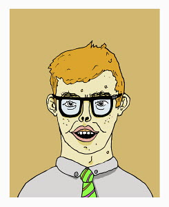 Geeky young man with pimples in dark glasses