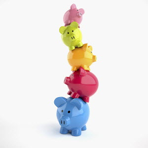 Unstable stack of piggy banks