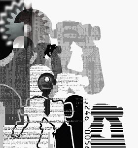 Collage of man with binoculars, key, barcode, and cogs