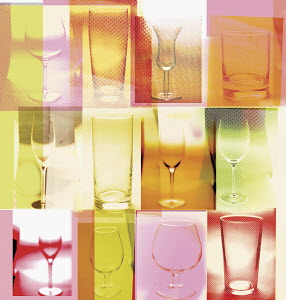 Collage of various alcohol glasses
