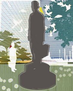 Statue of businessman outdoors