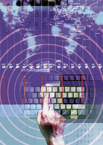 Collage of map, timezones, computer keyboard and man's hand