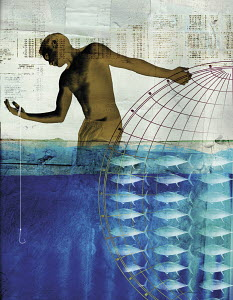 Collage of man, globe, fish, fishing line and numbers