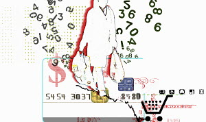 Numbers surrounding consumer carrying shopping bags on credit card with dollar sign