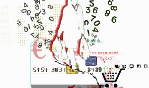 Numbers surrounding consumer carrying shopping bags on credit card with euro symbol