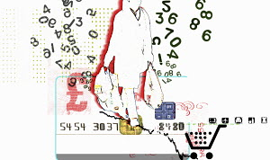 Numbers surrounding consumer carrying shopping bags on credit card with British pound symbol